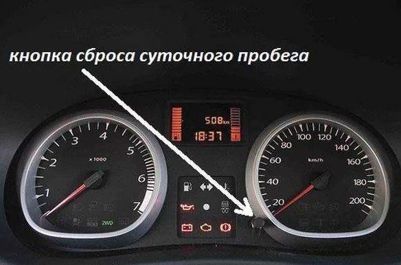 Кнопка сброса суточного пробега в машине
